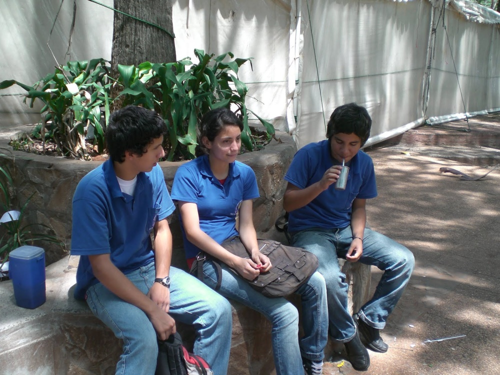 Paraguayan students drinking terere in the Asuncion's plaza.